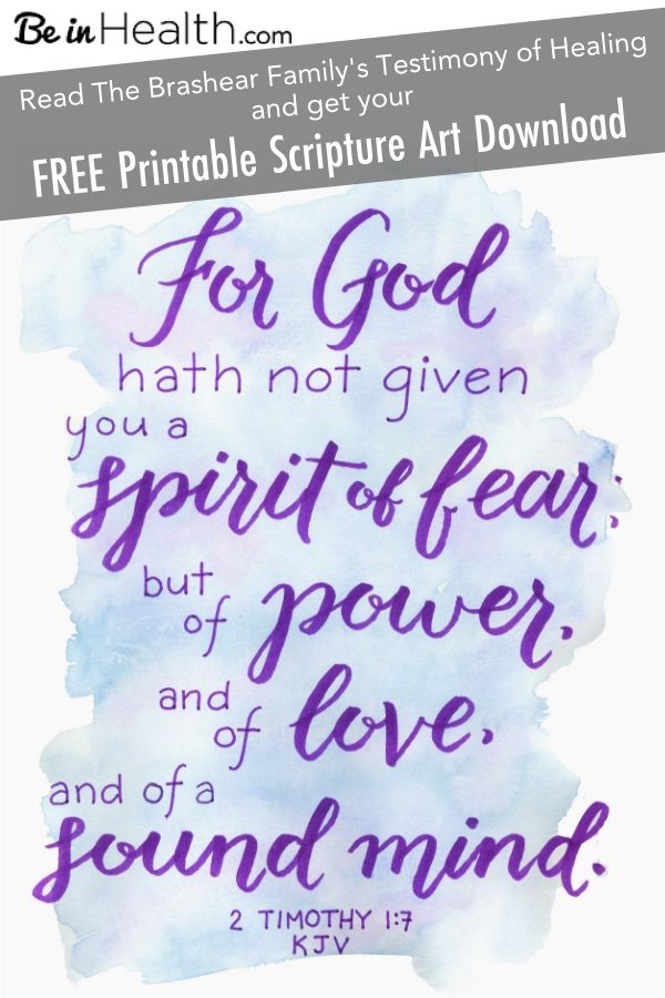 "FREE Printable Scripture Art Download- Bring the Encouragement of the Word of God into your home - 2 Timothy 1:7 ""For God hath not given you a spirit of fear; but of power, and of love, and of a sound mind."" Plus!!! Read the Brashear family"