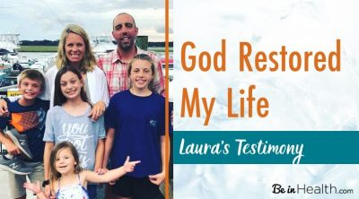 Laura's testimony of how she was healed of a pituitary brain tumor, leaky gut syndrome, Sjogren's syndrome, Hashimoto's disease, and insomnia because she applied what she learned at Be in Health to her life. God healed her and recovered her heart also, and helped her repair broken relationships.
