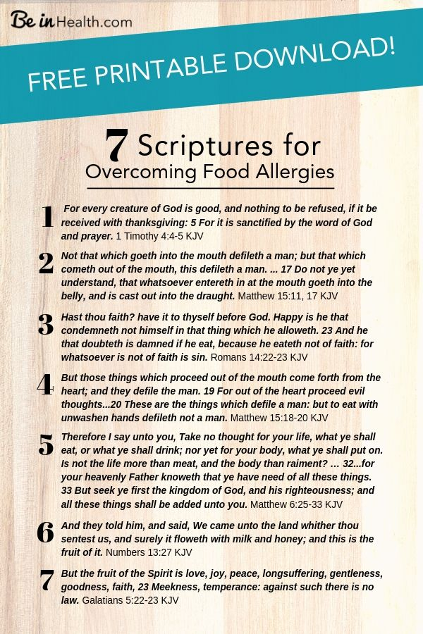 FREE Printable download! Here are7 frequently overlooked scriptural insights that you can apply to your life to get healing from food allergies and gluten intolerance - You