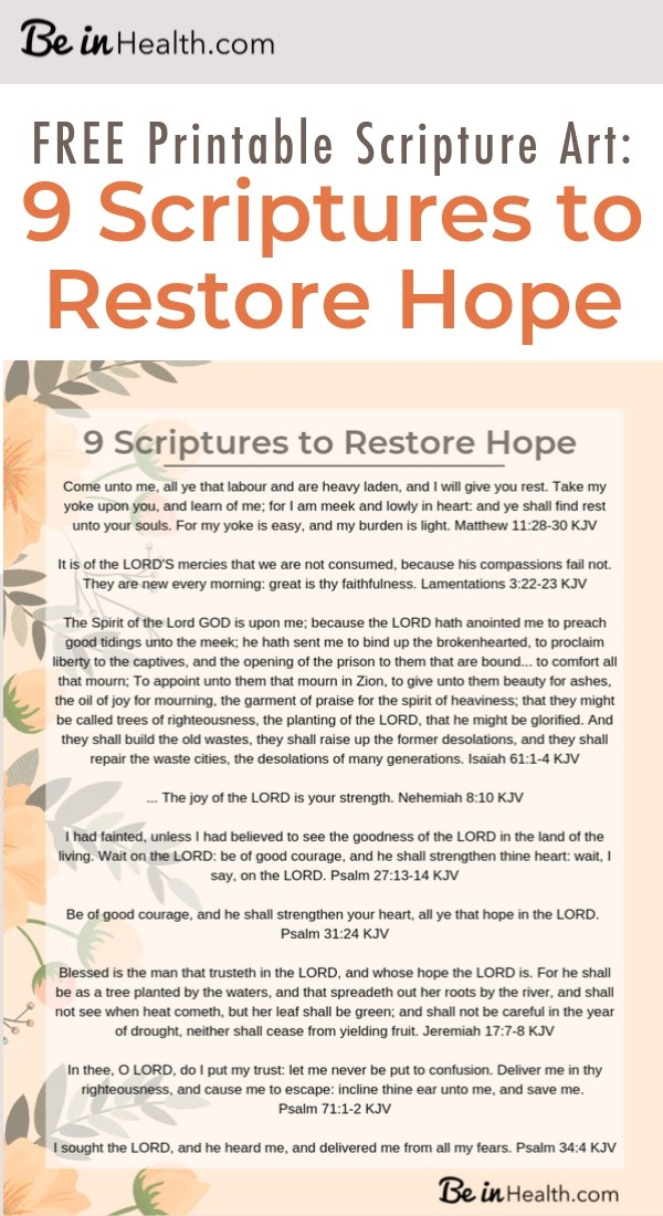 FREE Printable Scripture Art: 9 Scriptures that will help restore your hope in God and defeat fear and dread in your life.