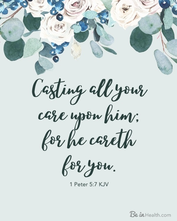 Download this FREE printable scripture art and learn more about how to cast your cares on God and bearing one another